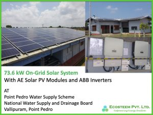 Ecosteem powered Valipuram Water Supply Station with 80kW Grid-Tie Solar System