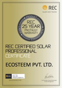 We are now REC Solar Certified Solar Professional
